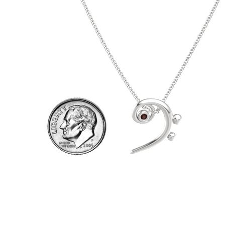 Sterling silver pendant with red garnet bass clef necklace gemvara bass clef necklace aloadofball Choice Image