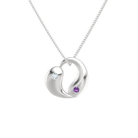 Sterling silver pendant with aquamarine and amethyst yin yang yin yang heart aloadofball Gallery