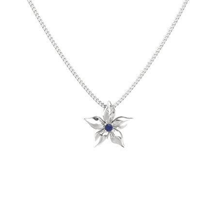 Round blue sapphire sterling silver pendant star flower pendant star flower pendant aloadofball Choice Image