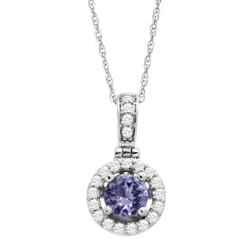 3/4 ct Tanzanite & White Topaz Halo Pendant