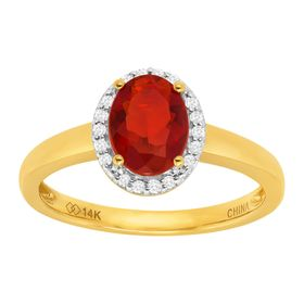 3/4 ct Fire Opal & 1/8 ct Diamond Ring
