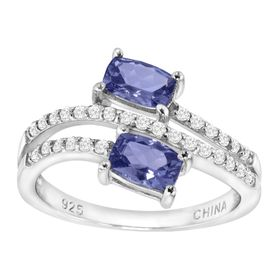 1 ct Tanzanite & Cubic Zirconia Bypass Ring