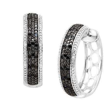 74c37e264 1/4 ct Black & White Diamond Hoop Earrings in Sterling Silver   1/4 ...