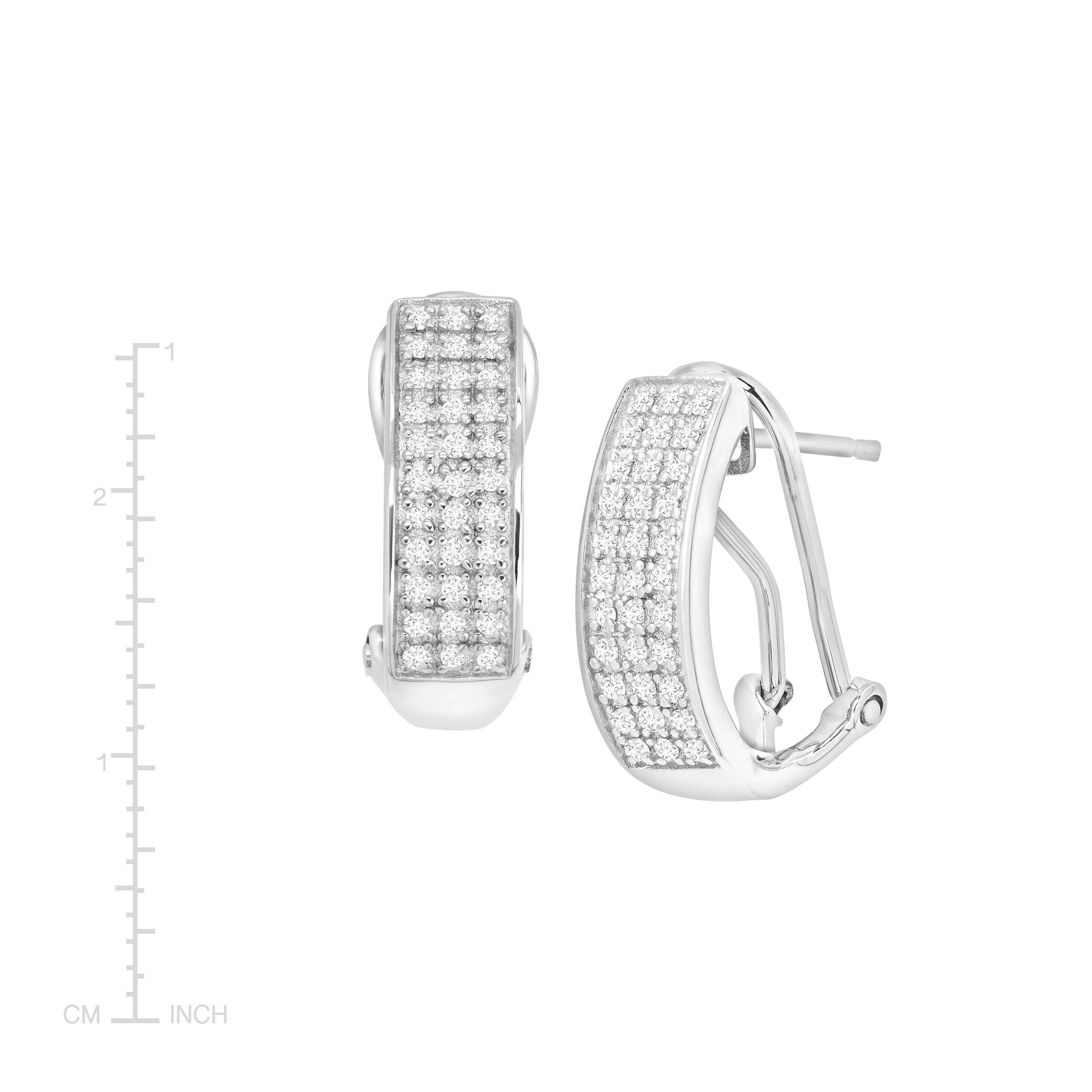 1 4 Ct Diamond French Clip Earrings In Sterling Silver