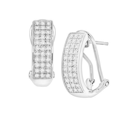 f31bc0154 1/4 ct Diamond French Clip Earrings in Sterling Silver   1/4 ct ...