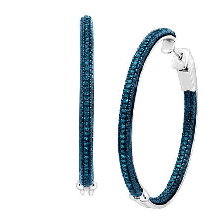 1 2 Ct Blue Diamond Hoop Earrings