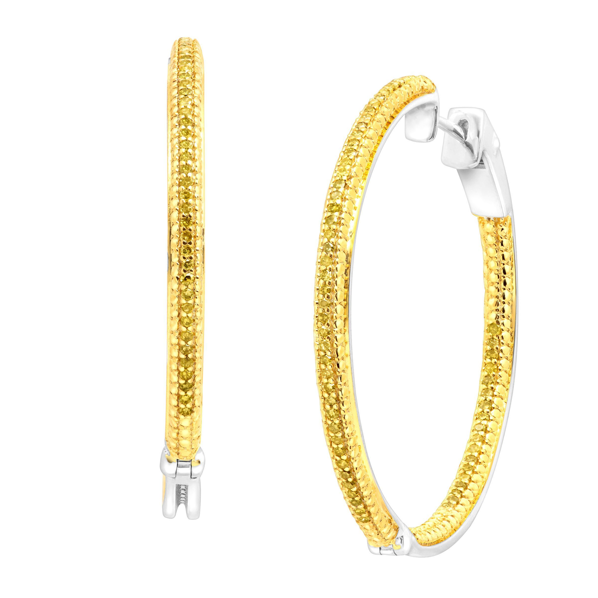earrings gold in hood hoop diamond white tw memoire