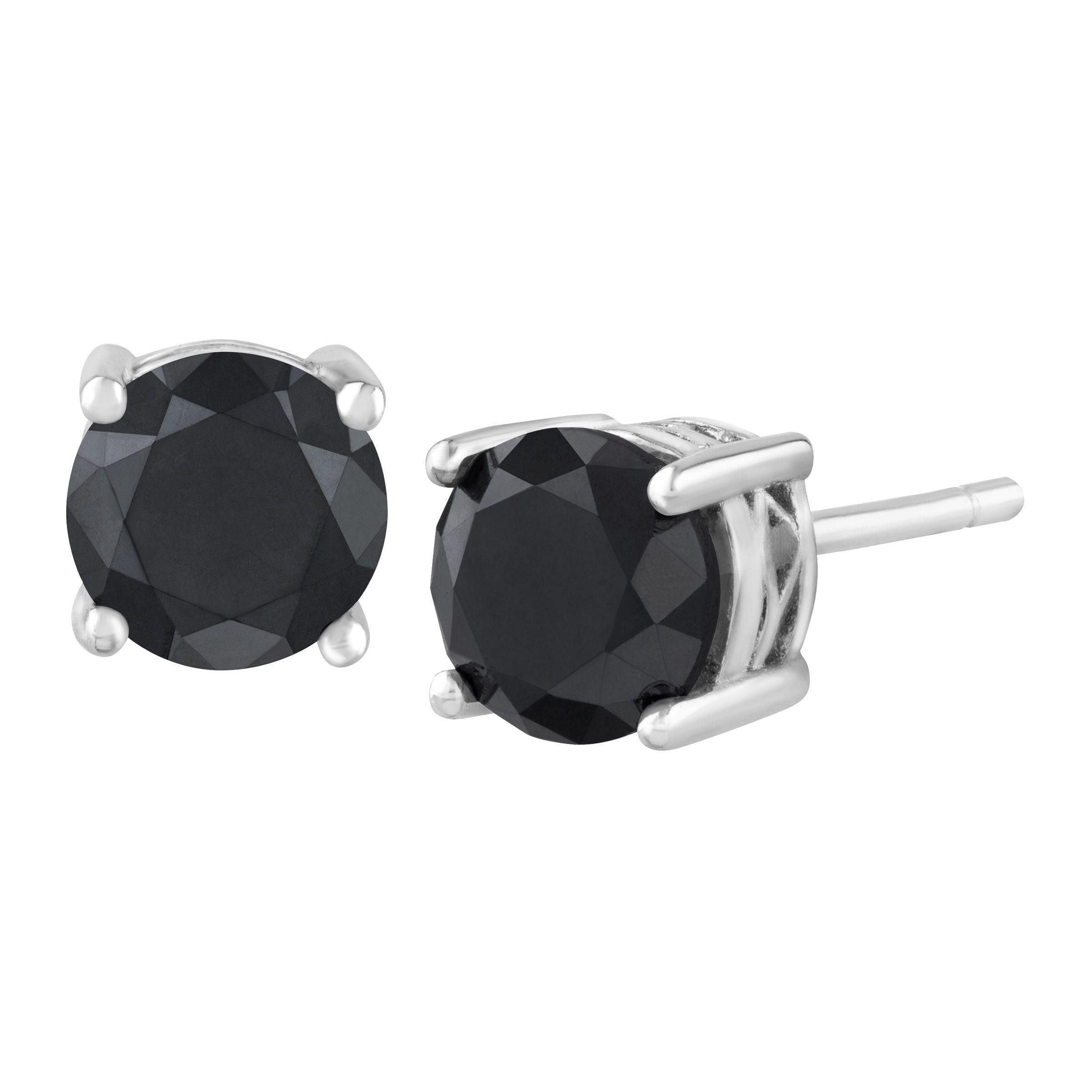 1 2 Ct Black Diamond Stud Earrings In Sterling Silver