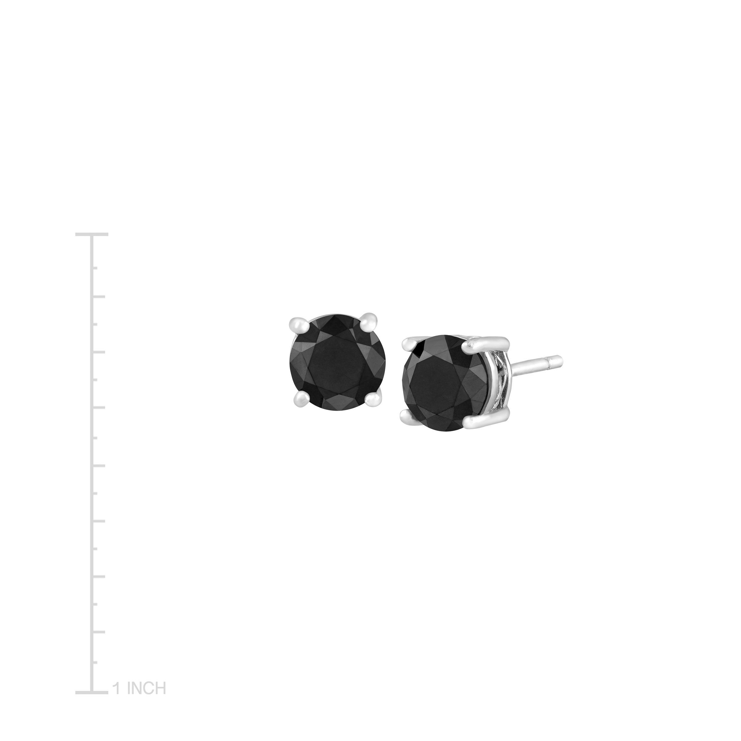 2 Ct Black Diamond Stud Earrings In Sterling Silver