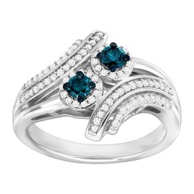 1/2 ct Blue & White Diamond Ring