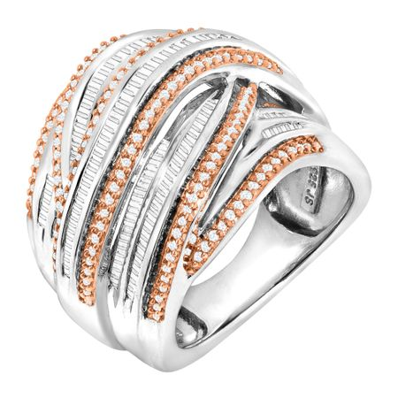 1 ct Champagne & White Diamond Band Ring