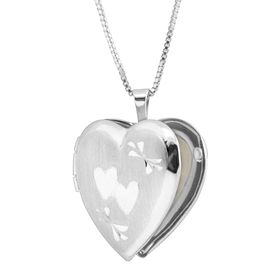 Classic Medium Double Etched Heart Locket Pendant