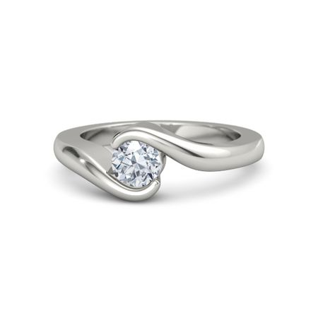 Round Diamond 14K White Gold Ring Embrace Ring