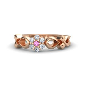 14K Rose Gold Ring with Pink Sapphire & Diamond