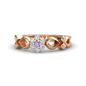 14K Rose Gold Ring with Tanzanite & Diamond