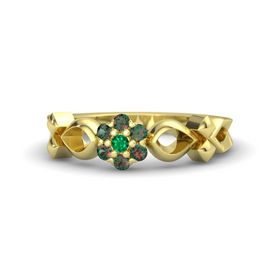 14K Yellow Gold Ring with Emerald and Alexandrite