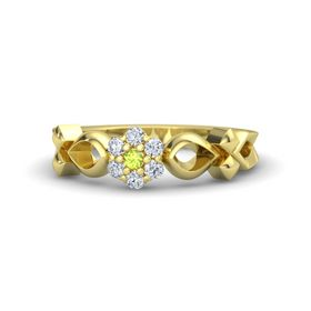 14K Yellow Gold Ring with Peridot & Diamond