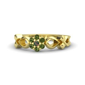 14K Yellow Gold Ring with Alexandrite and Green Tourmaline
