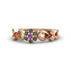 18K Rose Gold Ring with Amethyst and Alexandrite