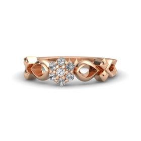 18K Rose Gold Ring with White Sapphire and Rock Crystal