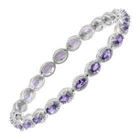6 1/2 ct Tanzanite Tennis Bracelet with Diamonds