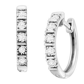 1/4 ct Diamond Square Tube Hoop Earrings