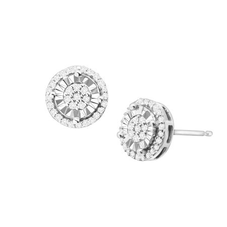 1/4 ct Diamond Halo Stud Earrings