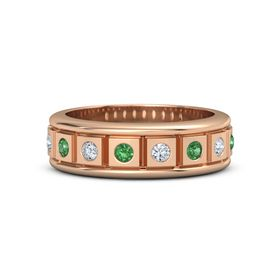 Men's 14K Rose Gold Ring with Emerald & Diamond