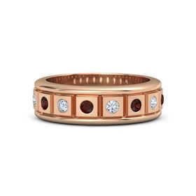 Men's 14K Rose Gold Ring with Red Garnet & Diamond