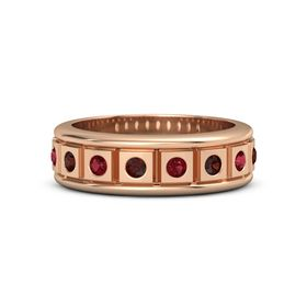 14K Rose Gold Ring with Red Garnet and Ruby
