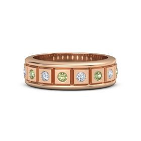 Men's 14K Rose Gold Ring with Peridot & Diamond