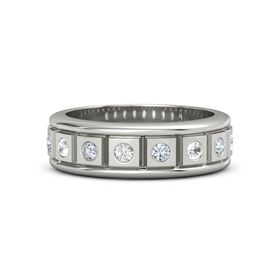 Men's 14K White Gold Ring with Rock Crystal & Diamond