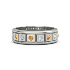 Men's 14K White Gold Ring with Citrine & Diamond