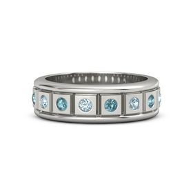 14K White Gold Ring with Aquamarine and London Blue Topaz