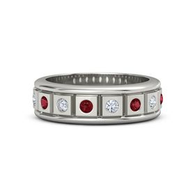 Men's 14K White Gold Ring with Ruby & Diamond