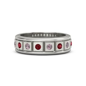 Men's 14K White Gold Ring with Ruby & Rhodolite Garnet