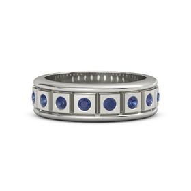 14K White Gold Ring with Blue Sapphire