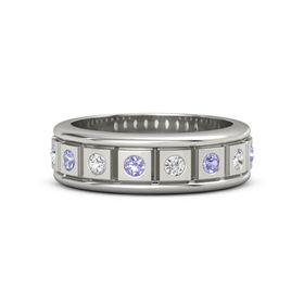 14K White Gold Ring with Tanzanite and White Sapphire