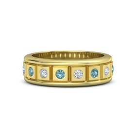 14K Yellow Gold Ring with London Blue Topaz and Diamond