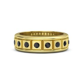 Men's 14K Yellow Gold Ring with Black Diamond