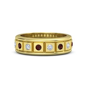 Men's 14K Yellow Gold Ring with Red Garnet & Diamond