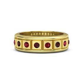 Men's 14K Yellow Gold Ring with Red Garnet & Ruby