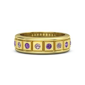 14K Yellow Gold Ring with Rhodolite Garnet and Amethyst