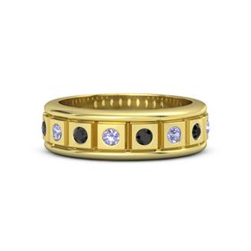 14K Yellow Gold Ring with Tanzanite and Black Diamond