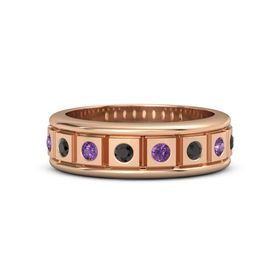 18K Rose Gold Ring with Black Diamond and Amethyst