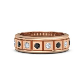 Men's 18K Rose Gold Ring with Black Diamond & Diamond
