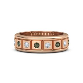 18K Rose Gold Ring with Green Tourmaline and Diamond