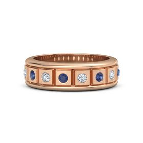 Men's 18K Rose Gold Ring with Sapphire & Diamond