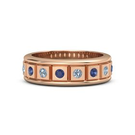 18K Rose Gold Ring with Blue Sapphire and Blue Topaz