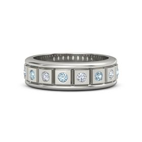 Men's 18K White Gold Ring with Aquamarine & Diamond